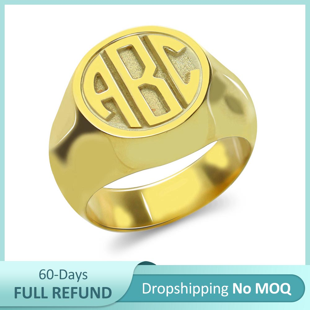 AILIN 925 Sterling Silver Sports Baseball Numbers Or Initials Engraved Sprots Baseball Texture Signet Rings