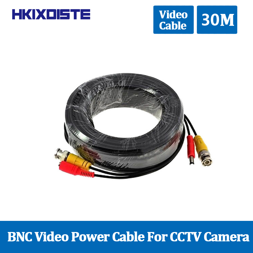 30M 100Ft BNC Video Power Cable For CCTV AHD Camera DVR Security System Black Surveillance Accessories