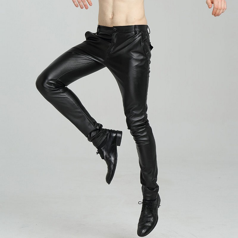 2020 New Arrival Casual Menswear Fashion Solid PU Leather Man Motorcycle Trousers Korean Slim Fit Skinny Pants Plus Size
