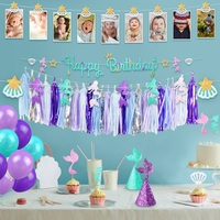 1Set Mermaid Theme Child Birthday Party Decorative Items Suit Tassel Cake Flag 2019NEW Lovely Creative Multifunction Gift Hot