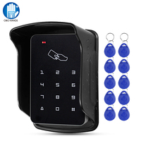 Upgraded RFID Access Control Keypad Waterproof Outdoor Cover 125KHz Card Reader 10pcs EM4100 Keyfobs for Door Lock System Kit