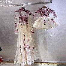 Prom-Dresses Evening-Dress Saudi Arabia Floral-Flowers Long-Sleeve Formal Daughter Vestido