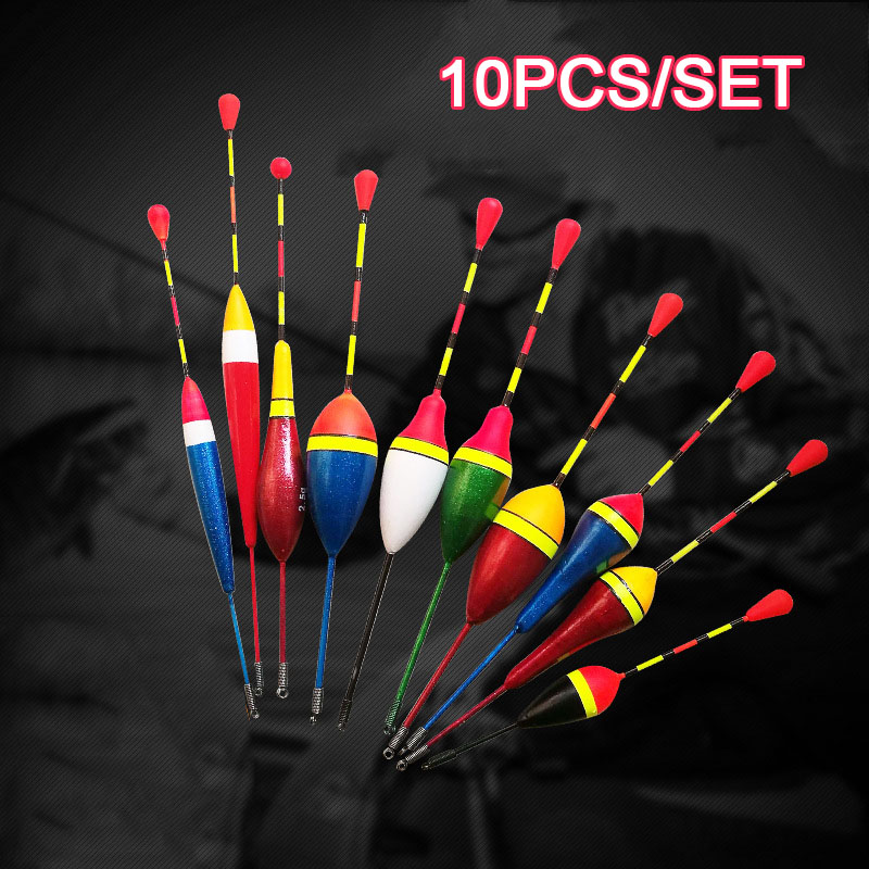 10Pcs/set Fishing Floats Set Buoy Bobber Fishing Light Stick Floats Fluctuate Mix Size Color Float Buoy For Fishing Accessories