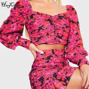 Image 2 - Hugcitar 2020 lunga del manicotto di soffio stampa floreale sexy carino crop top ruffles skirt 2 pezzi set donne della molla streetwear outfit partito