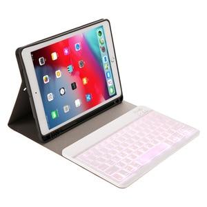 Image 2 - Funda de teclado retroiluminada para iPad 10,2 2019 con soporte de lápiz para iPad de Apple de 7 Generación de 10,2 pulgadas teclado inalámbrico capa