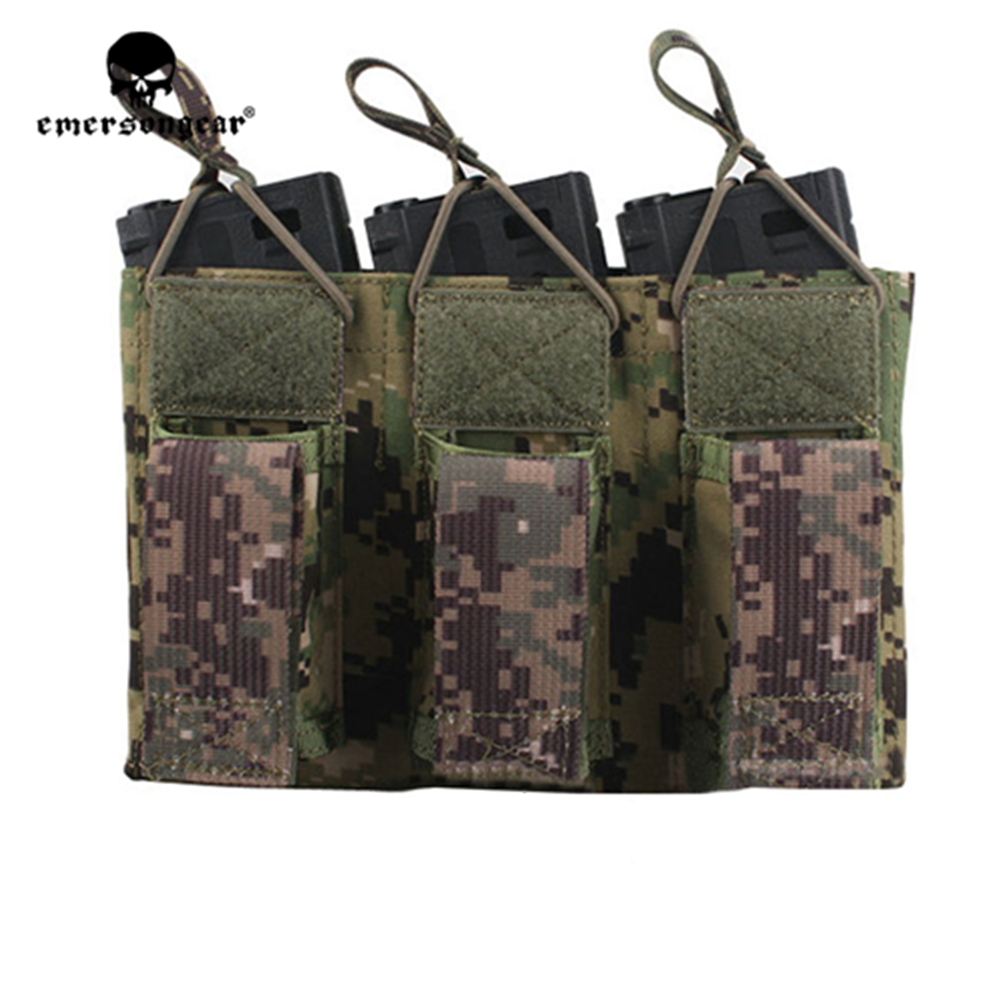 emersongear Emerson Magazine Pouches 5 56 Triple Open Top Pistol Mag Pouch Airsoft Wargame Military Tactical Magazine Pouch in Pouches from Sports Entertainment