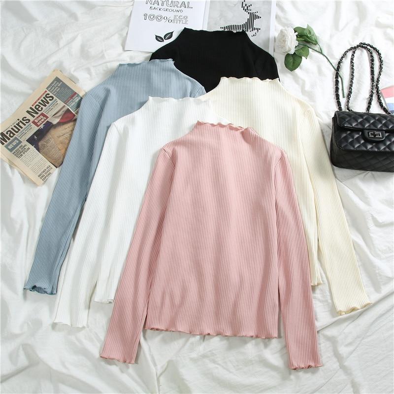 T Shirt Modis Knit Body Tee Femme Kawaii Korean Clothes Casual Solid Tops Long Sleeve White Black Ruffled Camisa Feminina 2019