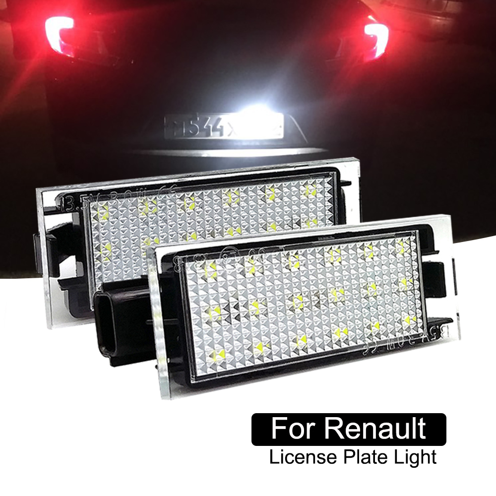 License plate light Car number lamp <font><b>LED</b></font> For <font><b>Renault</b></font> Clio III II Twingo II Megane II Laguna III Velsatis <font><b>Master</b></font> 2 Pieces Canbus image