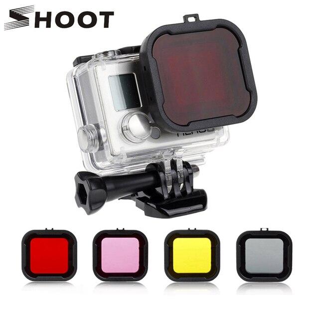 לירות עמיד למים מקרה עדשת מסנני GoPro גיבור 4 3 +/4 שחור כסף פעולה מצלמה אדום מסנן עבור ללכת פרו מצלמת צלילה אבזר