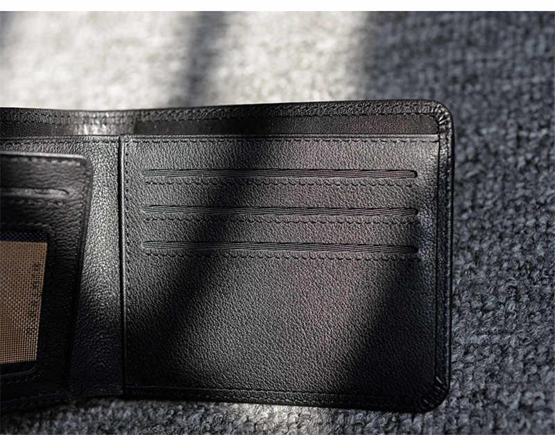 PNDME мужской повседневный кошелек из натуральной кожи, простой модный минималистичный черный кошелек с держателем для карт из мягкой натуральной воловьей кожи