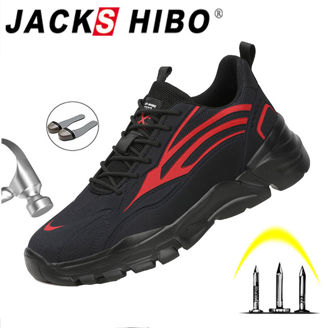 JACKSHIBO Safety Work Shoes For Men Anti Smashing Steel Toe Cap Working Boots Construction Safety Work Boots Security shoes Men