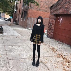 Image 3 - Autumn Winter Harajuku Women Fashion Skirts Cute Yellow Black Red  Pleated Skirt Punk Style High Waist Female Mini Short Skirt