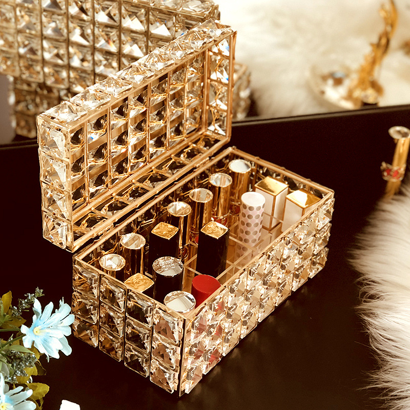 Crystal Tissue Box Lipstick Holder Jewelry Storage Box Makeup Organizer Home Decoration Dressing Table