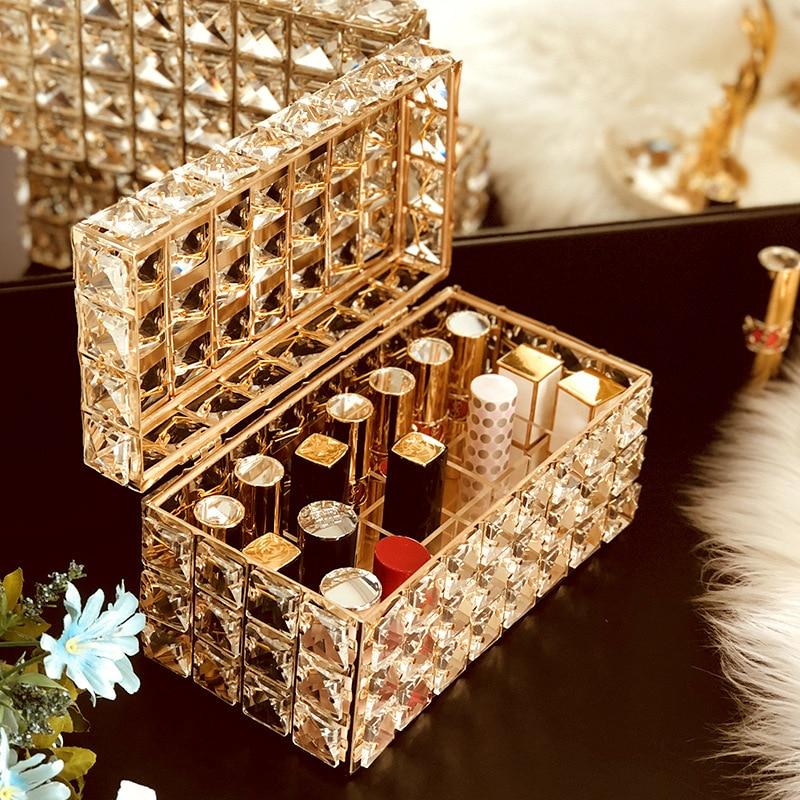 Crystal Tissue Box Lipstick Holder Jewelry Storage Box Makeup Organizer Home Decoration Dressing Table