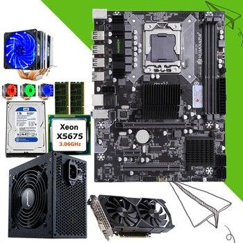 Discount HUANANZHI X58 Motherboard set CPU Xeon X5675 3.06GHz with cooler RAM 16G(2*8G) RECC 1TB HDD 500W PSU GPU GTX1050Ti 4GD5