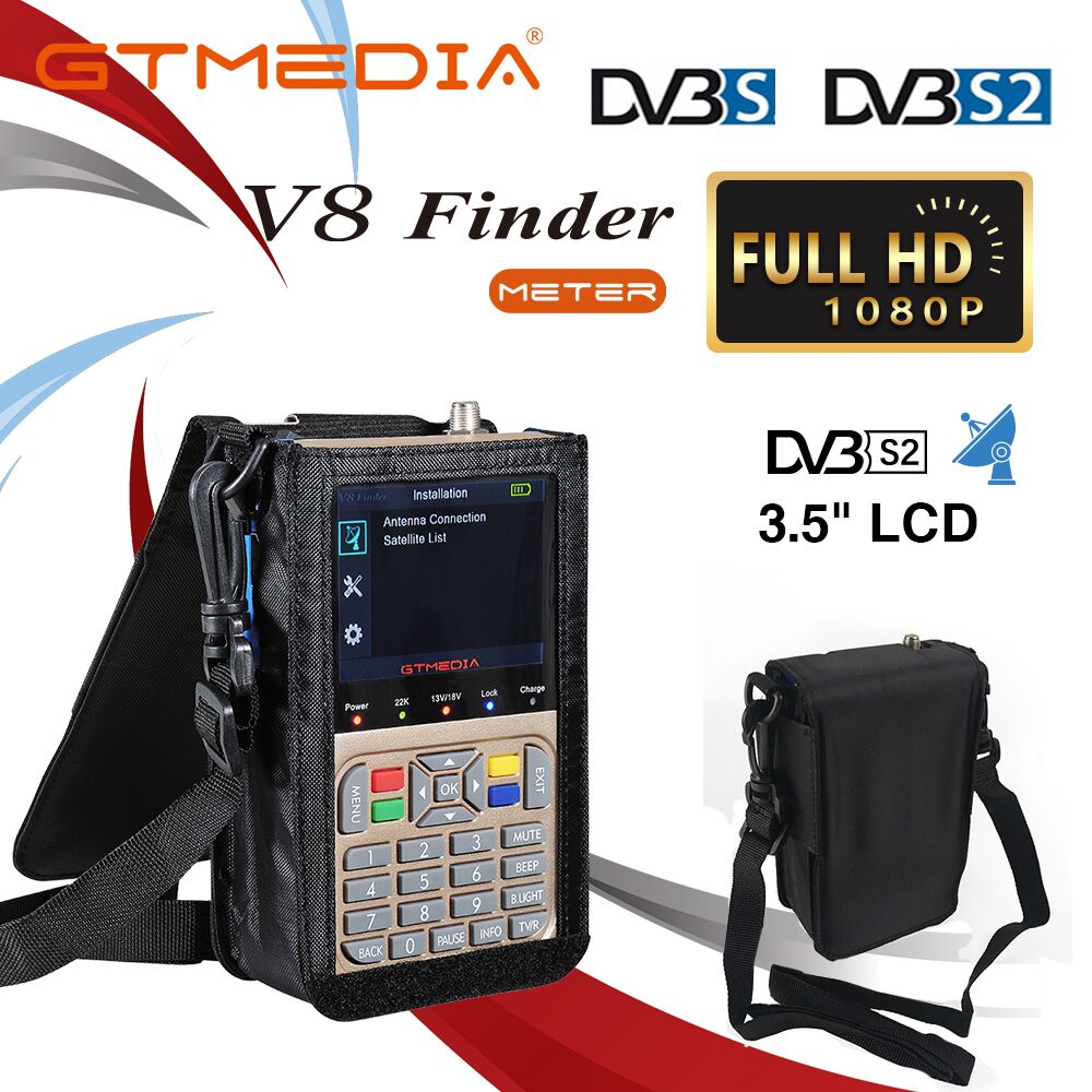 GT MEDIA V8 Finder HD DVB-S2/S2X Digital Satellite Finder High Definition Sat Finder ACM Satellite Meter Satfinder 1080P Battery