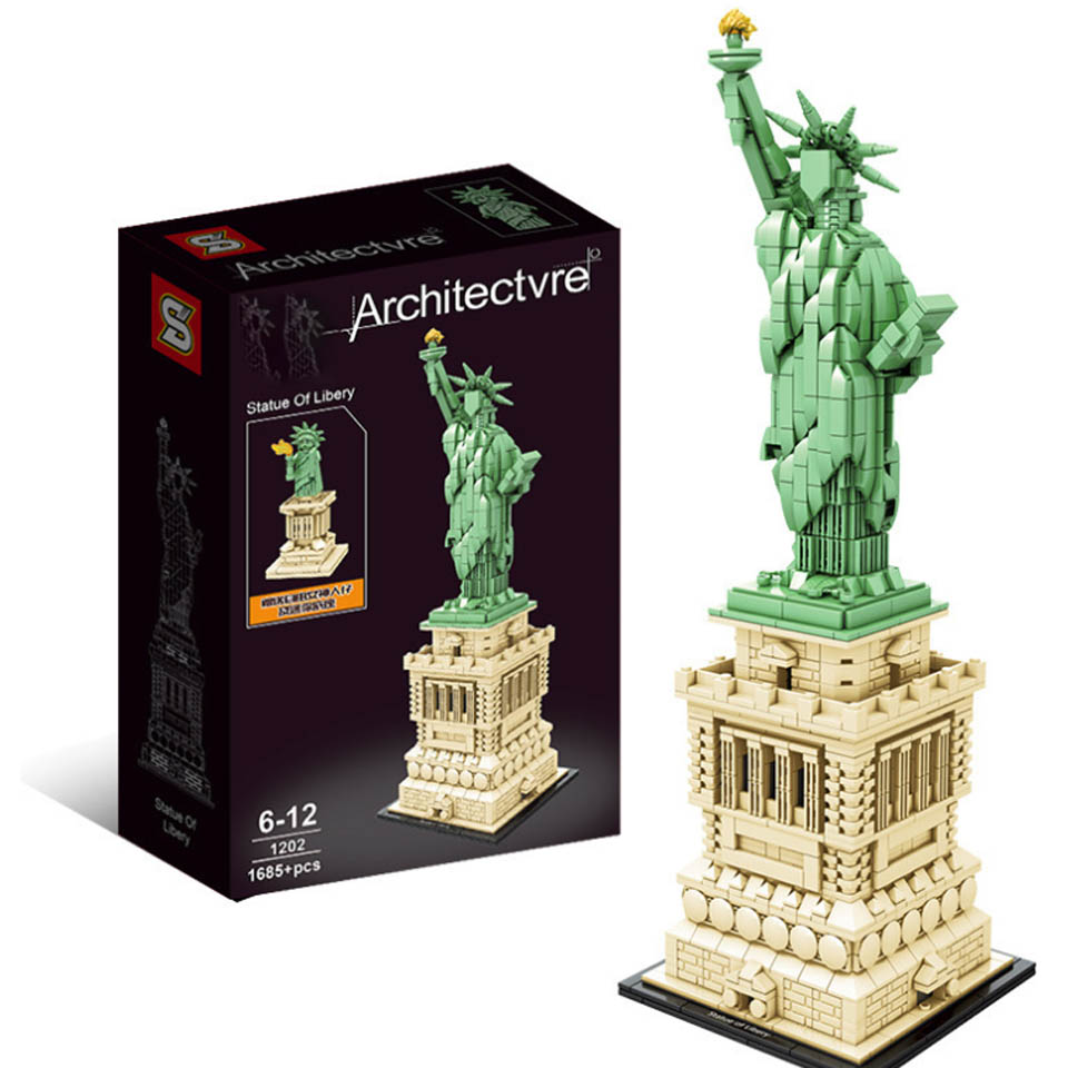 SY1202 Technic Statue Of Liberty LeSet 21042 Creator Legoinglys City Architecture Building Blocks Bricks Educational Toys Kid