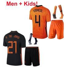 Crianças holanda holanda crianças + masculino jerseys 2020 2021 de jong trainingspak voetbal tenues chandal virgil ligt kits