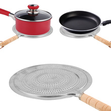 Heat-Diffuser Cookware Simmer-Ring Wooden-Handle Kitchen-Tool Round Metal with Coffee