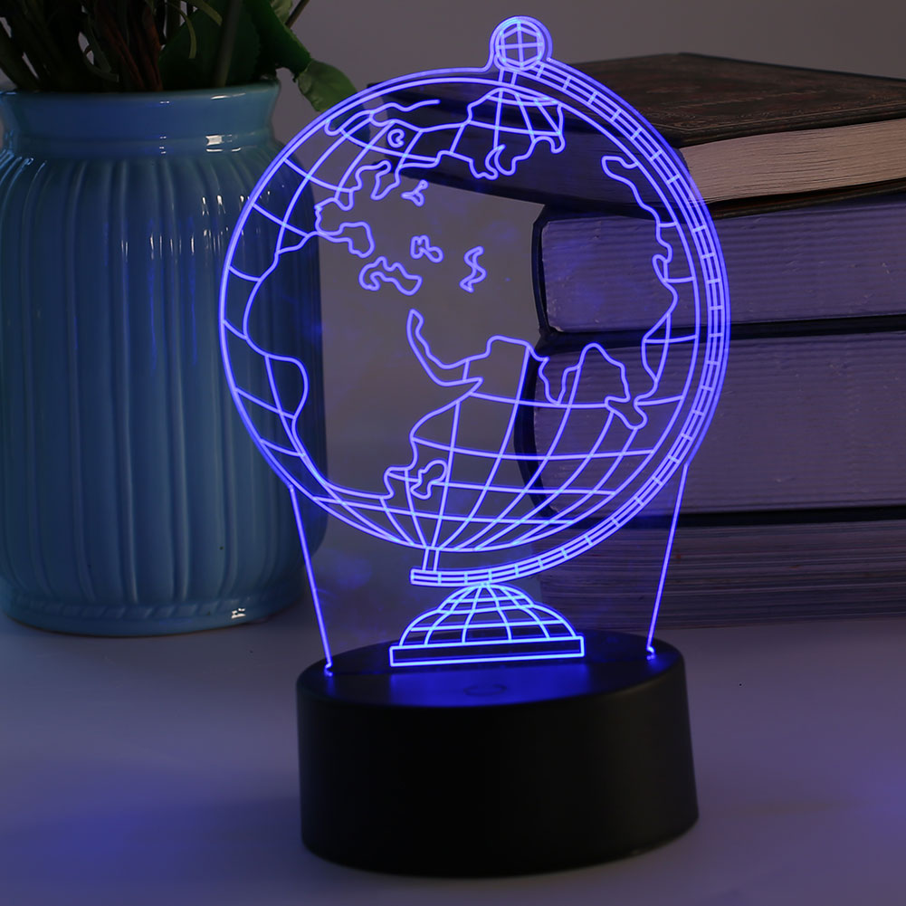 3D USB LED Night Light Table Lamps Earth Pattern Christmas Room Decoration