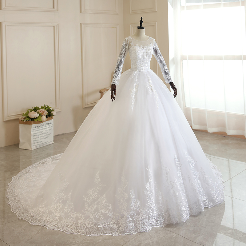 Vestido De Noiva 2021 Pure White Full Sleeve Wedding Dress With Train Princess Luxury Wedding Dress Robe De Mariee Plus Size