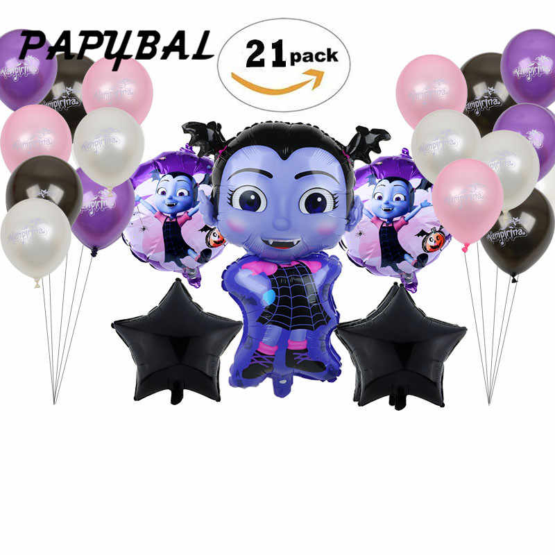 5/20pcs Vampire Girl Pentagram Witch Helium Foil Balloons Children Toys Globos Halloween Party Latex Vampirina Balloon Decor