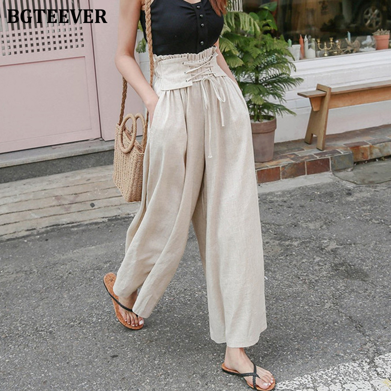 BGTEEVER Casual Wide Leg Pants for Women Chic Loose Lace Up Female Pants High Waist Women Trousers 2020 Spring Summer Capris