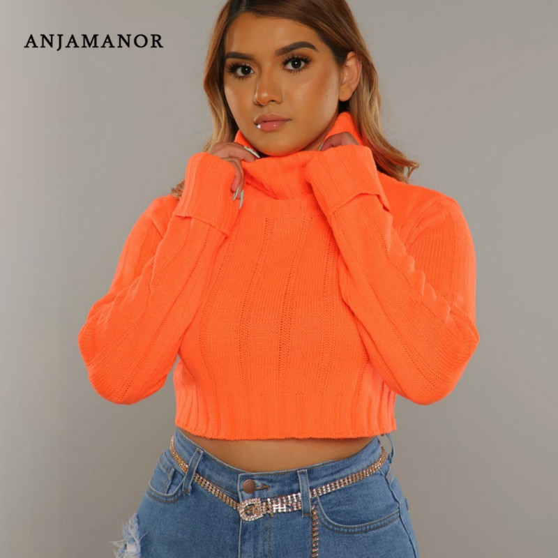 ANJAMANOR Neon Orange Pink Turtleneck Crop Sweater Women 2020 Autumn Winter Clothes Sexy Knitted Pullover Tops D81-AB31