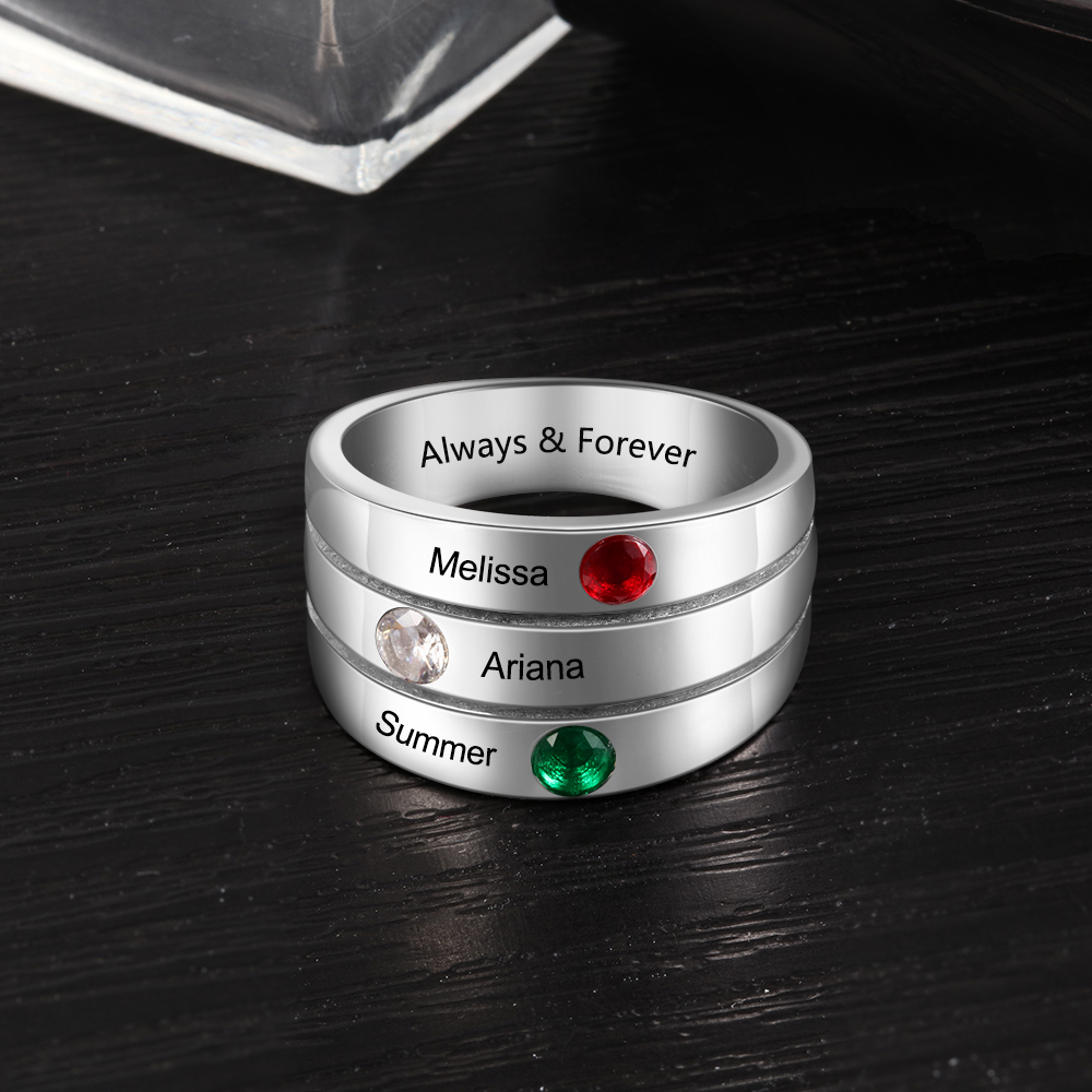 Personalized Stacking Rings With 3 Birthstones Customized Name Ring For Mom Engraved Promise Wedding Bands Women Fashion Jewelry