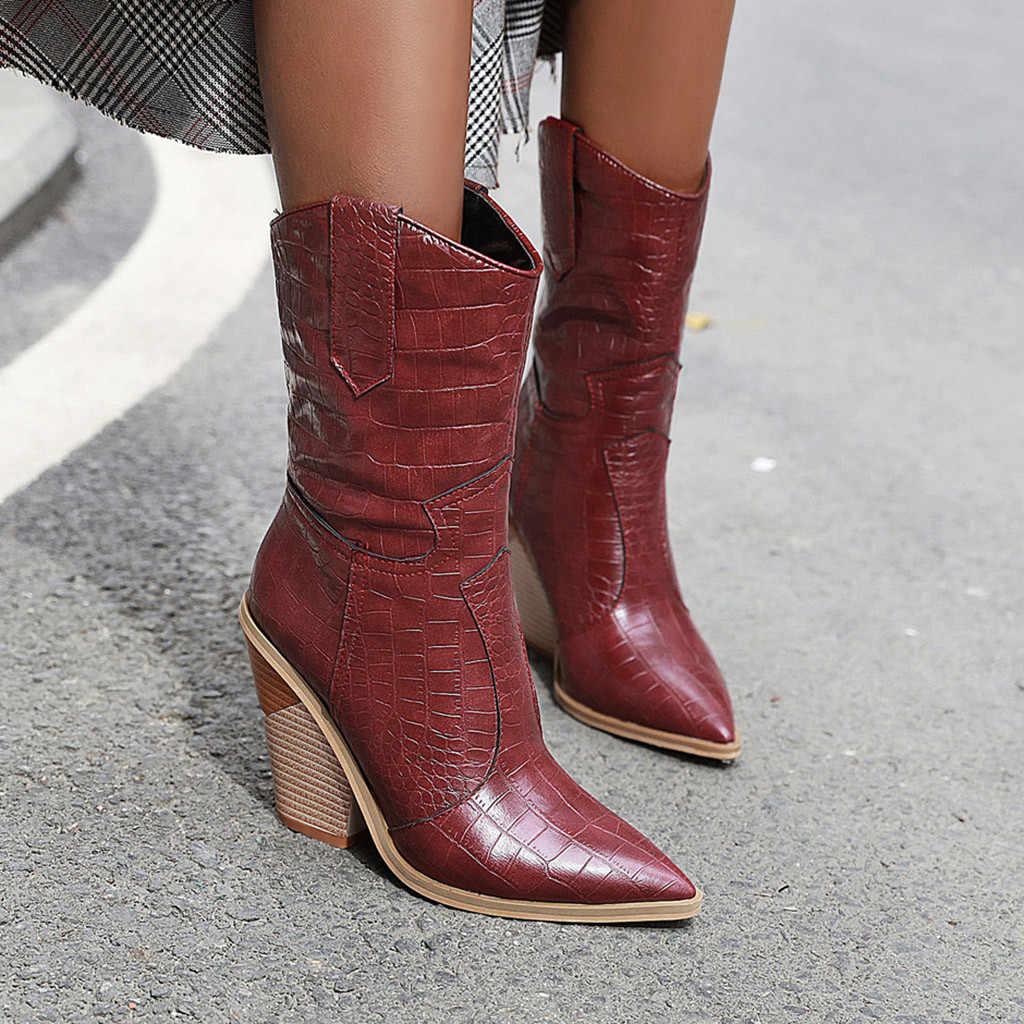 Kış dizler yüksek düz çizmeler kadın deri çizmeler bağcıksız ayakkabı takozlar sivri burun rahat batı Rodeo kovboy botları #923