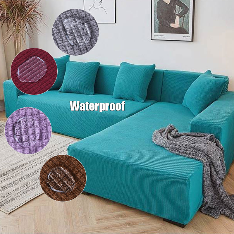 Waterproof 13 Solid Color Cloth Art Antiskid Stretch Sofa Cover Big Elastic Sofa Furniture Cover