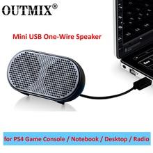 OUTMIX Mini altavoz portátil para PS4, alimentado por USB equipo estéreo, Subwoofer para juegos, Notebook, portátil y PC
