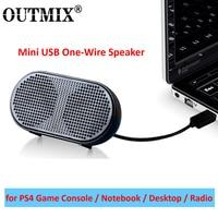 OUTMIX-Mini altavoz portátil para PS4, alimentado por USB equipo estéreo, Subwoofer para juegos, Notebook, portátil y PC