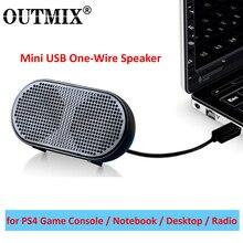 OUTMIX przenośny głośnik miniaturowy głośnik z wejściem USB zasilany głośnik Stereo do komputera głośnik Subwoofer do PS4 gra Notebook Laptop PC