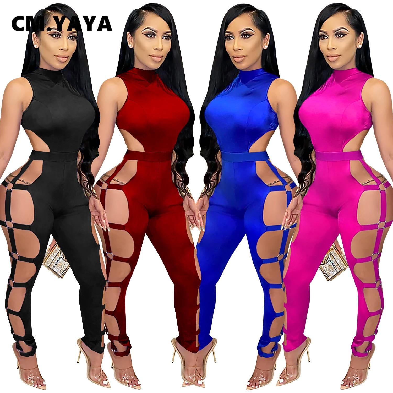 Cmjaya – combinaison à lacets pour femmes, Sexy, sans manches, lettre sur le côté, soirée en boîte de nuit, ajouré, salopette une pièce