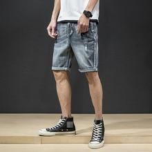 Men vintage Ripped Jeans Knee Length Short Casual Loose Bermuda Retro Holes Straight Denim shorts New Streetwear Summer
