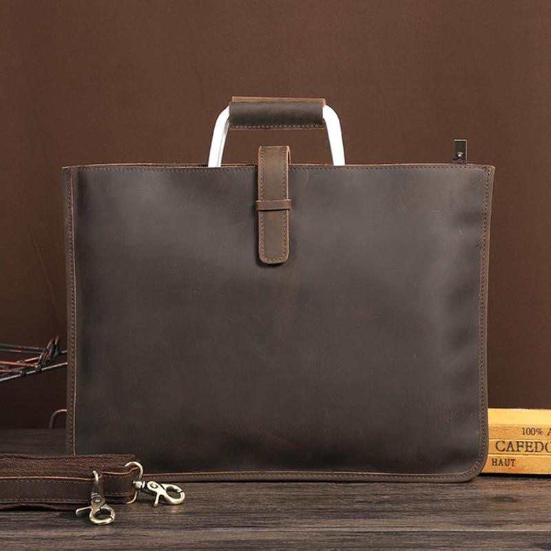 Vintage Crazy Horse Leather Men's Bag Briefcase Brand Designer Laptop IPad File Bags Man Messenger Bag Bolso Hombre