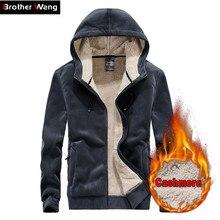 2019 Winter Mens Warm Hooded Sweatshirt Fashion Casual Thicken Cardigan Sweatshirts Male Coat Brand Plus Size  5XL 6XL 7XL 8XL