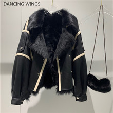 Winter New Women Sheep Wool Fur Real leather jacket sheepskin Double face Coat Oversized