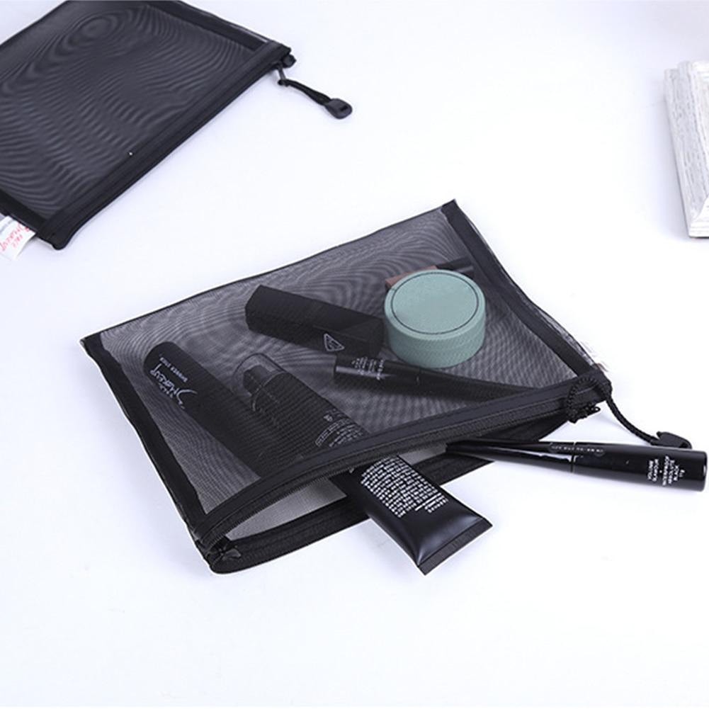 Zipper Wash Toiletry Portable Organizer Multifunction Storage Black Cosmetic Bag Fashion Women Travel Transparent Mesh Makeup