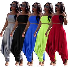 Summer Women Two Piece Outfits Women's Pant Set Strapless Cr