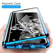 Adsorpcja magnetyczna metalowa obudowa zderzaka do Samsung Galaxy S20 ultra dwustronna szklana obudowa na S 20 Plus S20 + S20ultra okładka