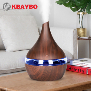 KBAYBO 300ml USB Electric Aroma air diffuser wood grain Ultrasonic air humidifier cool mist maker with 7 colors lights for home(China)