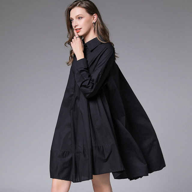 DEAT 2021 New Fashion Casual Oversized  Women's Shirt Dress Loose Wild Button Lapel Collar Full Sleeve Slim Clothes AQ744 4