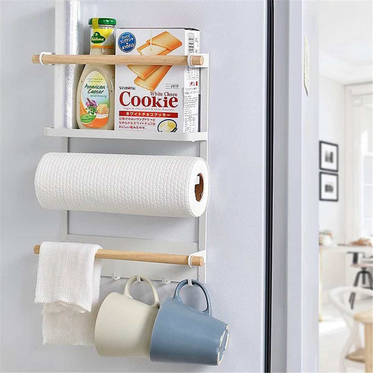 2 Color Kitchen Storage Rack Fridge Magnetic Organizer Paper Towel Holder Rustproof Spice Jars Rack Metal Shelf Kitchen Supplies