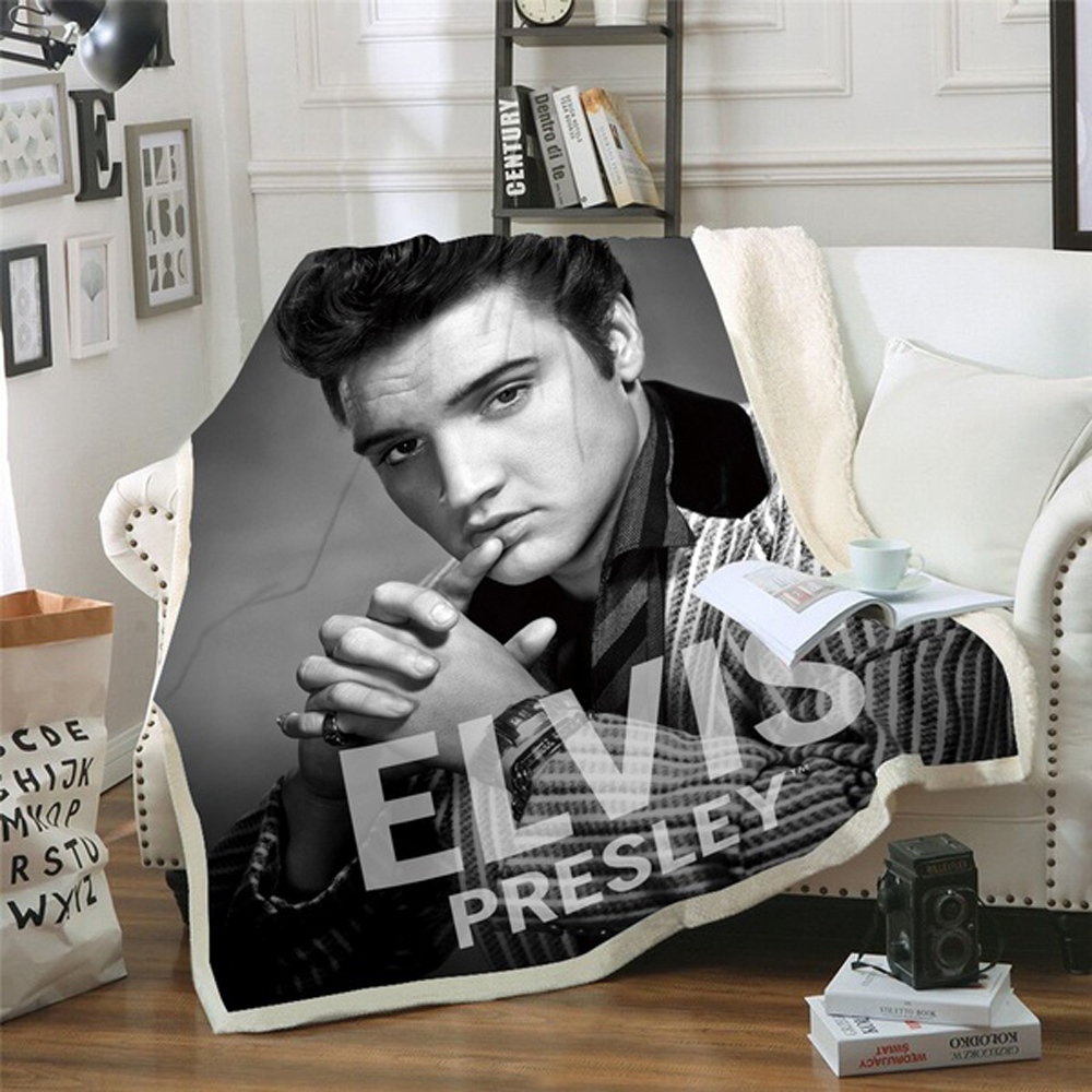 Elvis Presley 3D Blanket For Beds Hiking Picnic Thick Quilt Fashionable Bedspread Fleece Throw Blanket Style-4