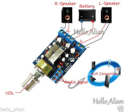 TEA2025B Stereo Audio Power Amplifier Board AC 5V-9V DC 5V-12V 3W*3W Dual Channel VOL