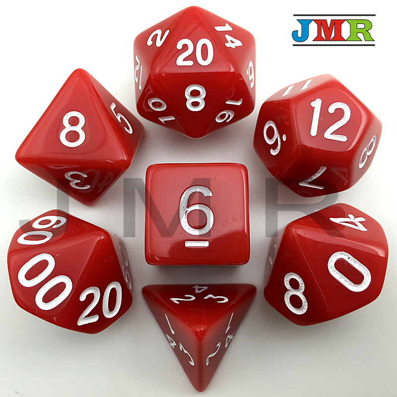 Red Color Dragons And Dungeons 7pc/lot 14 Different Color Set D4,D6,D8,D10,D10%,D12,D20 Portable Dice Set Board Game As Gift