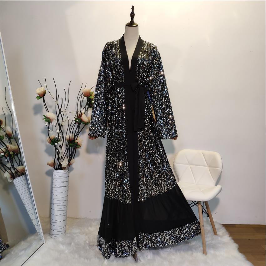 Black Eid Abaya Dubai Kaftan Kimono Cardigan Muslim Hijab Dress Female Turkish Islamic Clothing Vetement Femme Musulmane F1448