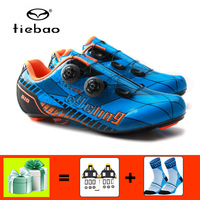 TIEBAO carbon fiber cycling shoes road sapatilha ciclismo self locking cycling sneakers shoes SPD SL cleats bicycle riding shoes